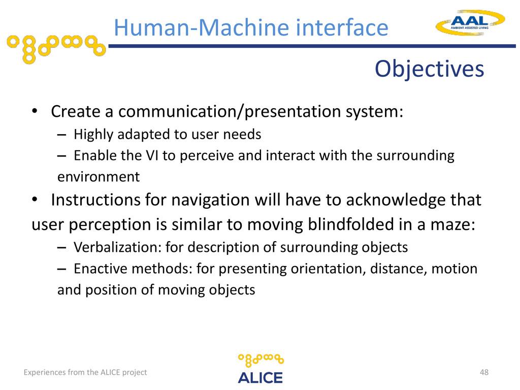 Objectives Human-Machine interface • Create a c...