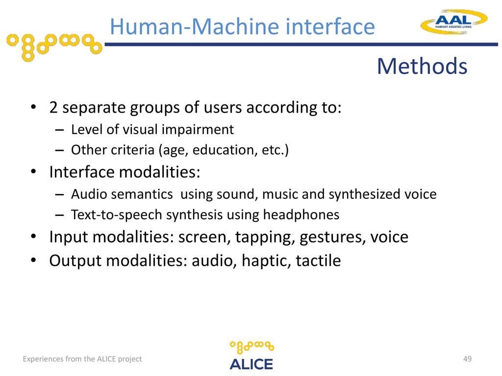 Methods Human-Machine interface • 2 separate gr...