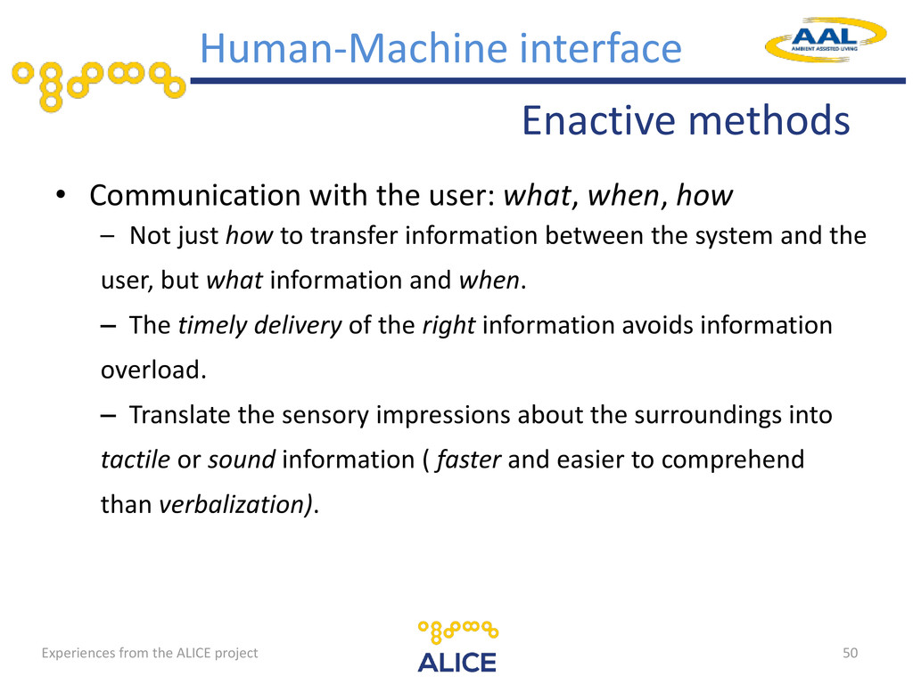 Enactive methods Human-Machine interface • Comm...