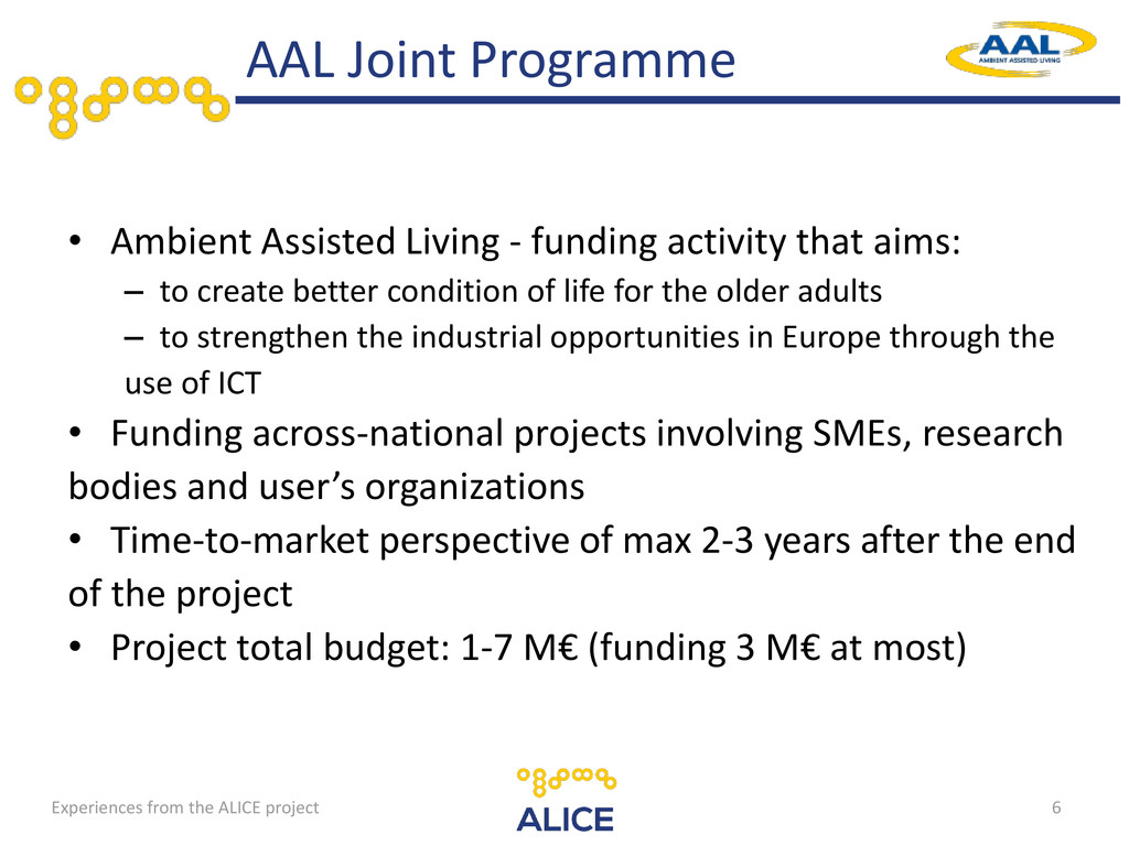 • Ambient Assisted Living - funding activity th...