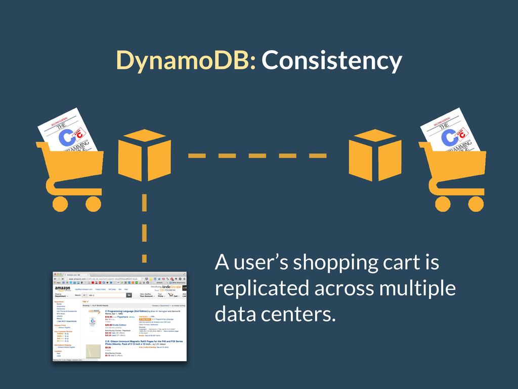 DynamoDB: Consistency A user's shopping cart is...