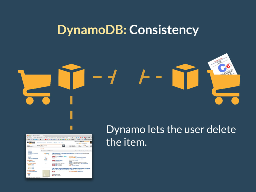 DynamoDB: Consistency Dynamo lets the user dele...
