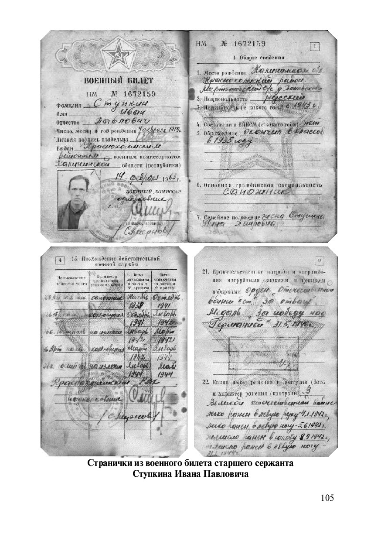 105 Странички из военного билета старшего сержа...