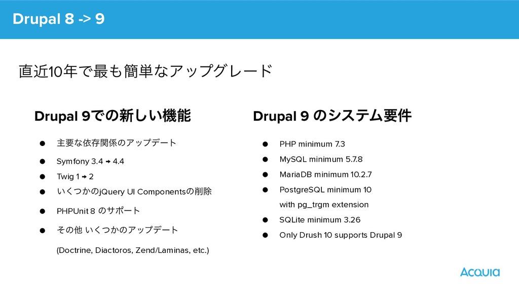 Drupal 9Ͱͷ৽͍͠ػ ● ओཁͳґଘؔͷΞοϓσʔτ ● Symfony 3.4 ...