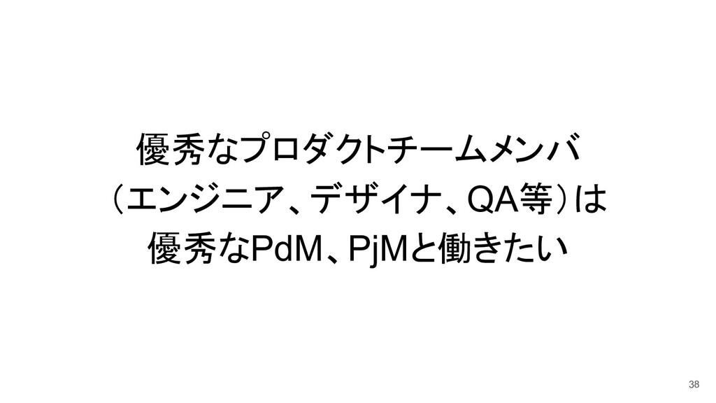 優秀なプロダクトチームメンバ (エンジニア、デザイナ、QA等)は 優秀なPdM、PjMと働きた...