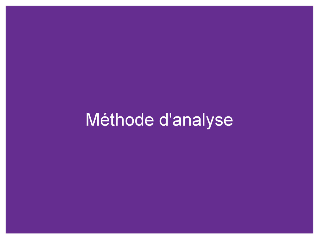Méthode d'analyse