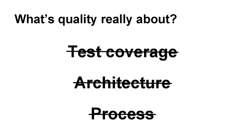 Test coverage Architecture Process What's quali...