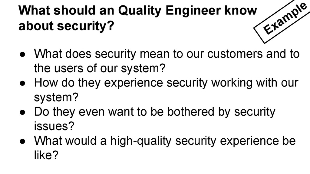 ● What does security mean to our customers and ...
