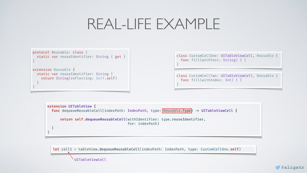 REAL-LIFE EXAMPLE extension UITableView { func ...