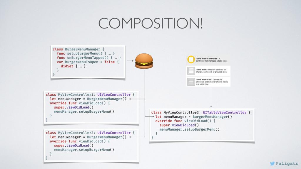 COMPOSITION! class BurgerMenuManager { func set...