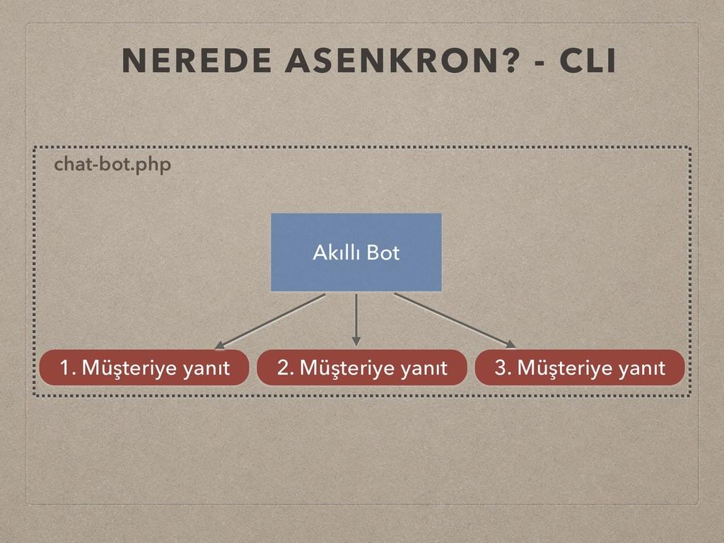 NEREDE ASENKRON? - CLI Akıllı Bot 1. Müşteriye ...