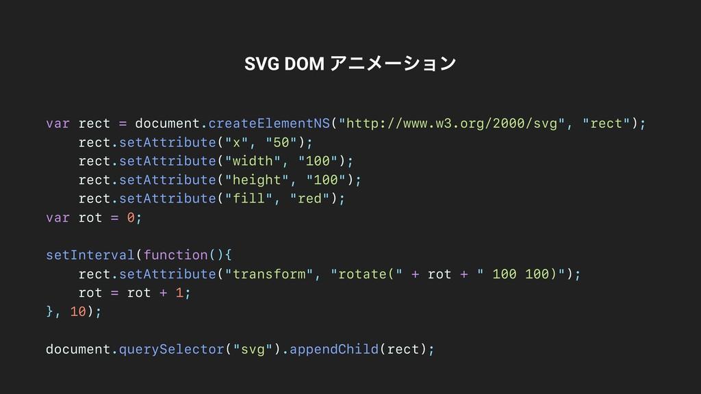 SVG DOM Ξχϝʔγϣϯ var rect = document.createEleme...