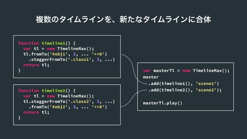 ෳͷλΠϜϥΠϯΛɺ৽ͨͳλΠϜϥΠϯʹ߹ମ function timeline1() { ...