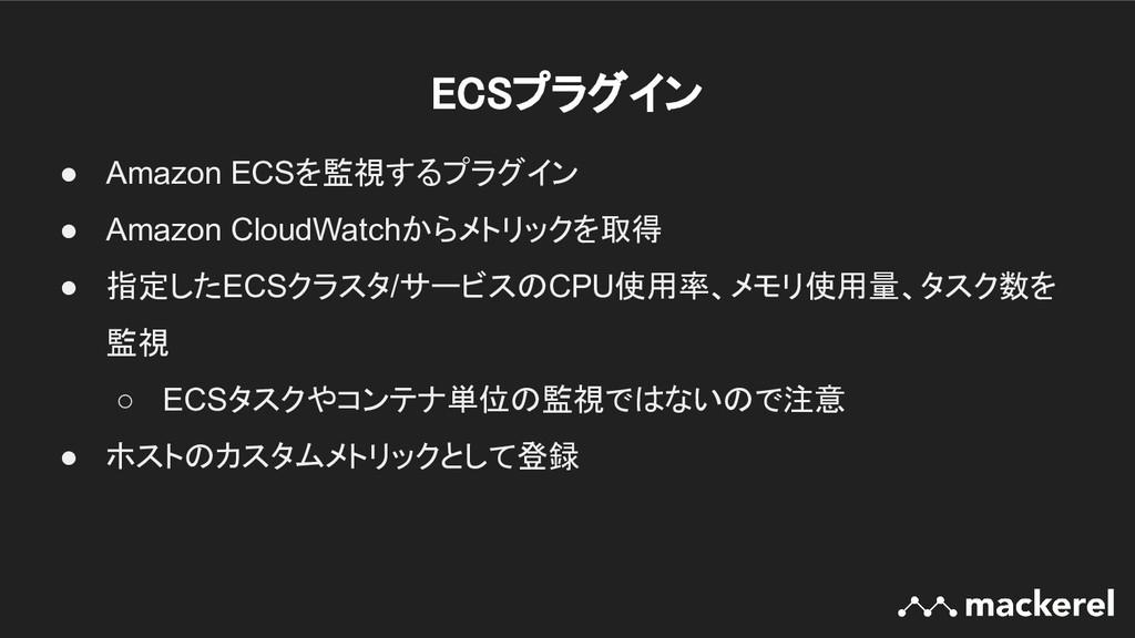ECSプラグイン ● Amazon ECSを監視するプラグイン ● Amazon Cloud...