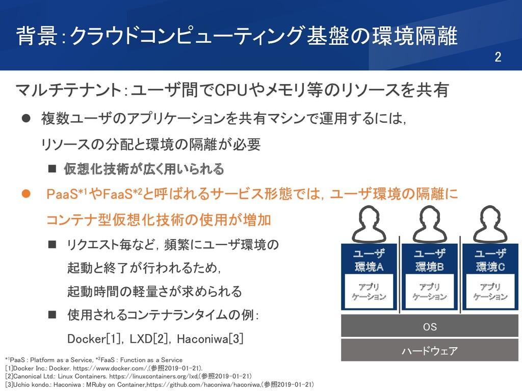 背景:クラウドコンピューティング基盤の環境隔離 マルチテナント:ユーザ間でCPUやメモリ等のリ...