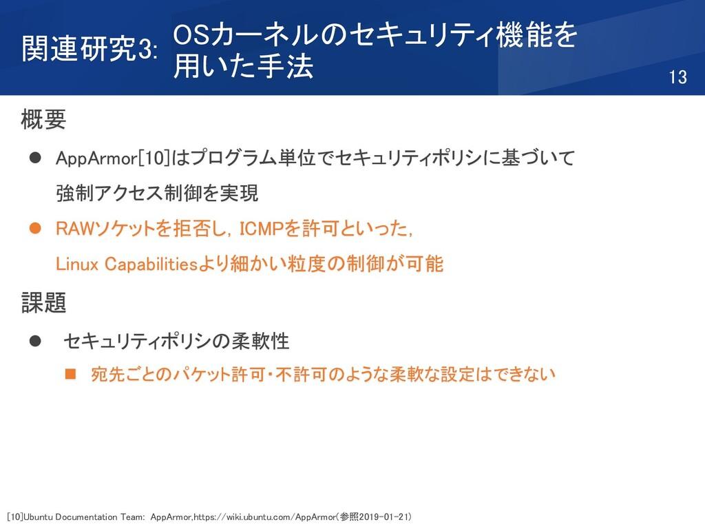 概要 ⚫ AppArmor[10]はプログラム単位でセキュリティポリシに基づいて 強制アクセス...