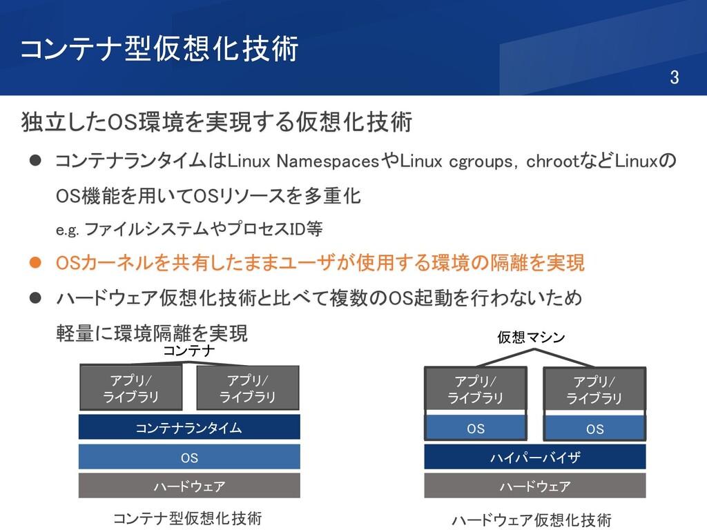 コンテナ型仮想化技術 独立したOS環境を実現する仮想化技術 ⚫ コンテナランタイムはLinux...