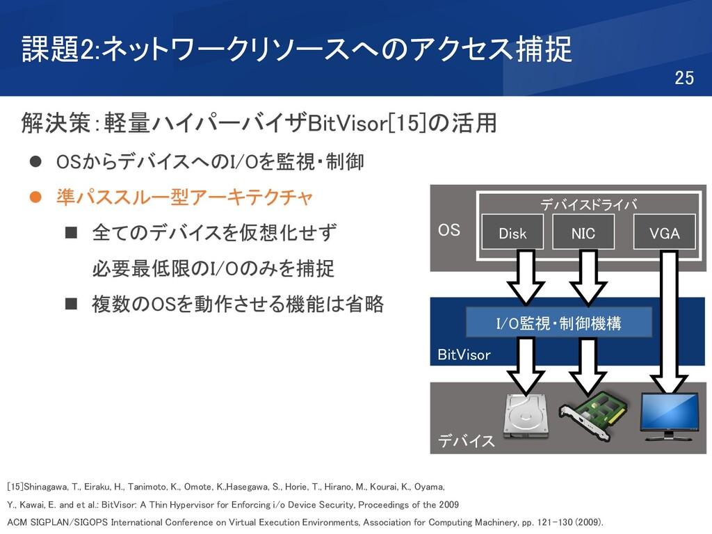 課題2:ネットワークリソースへのアクセス捕捉 解決策:軽量ハイパーバイザBitVisor[15...