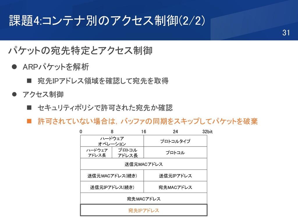 課題4:コンテナ別のアクセス制御(2/2) パケットの宛先特定とアクセス制御 ⚫ ARPパケッ...