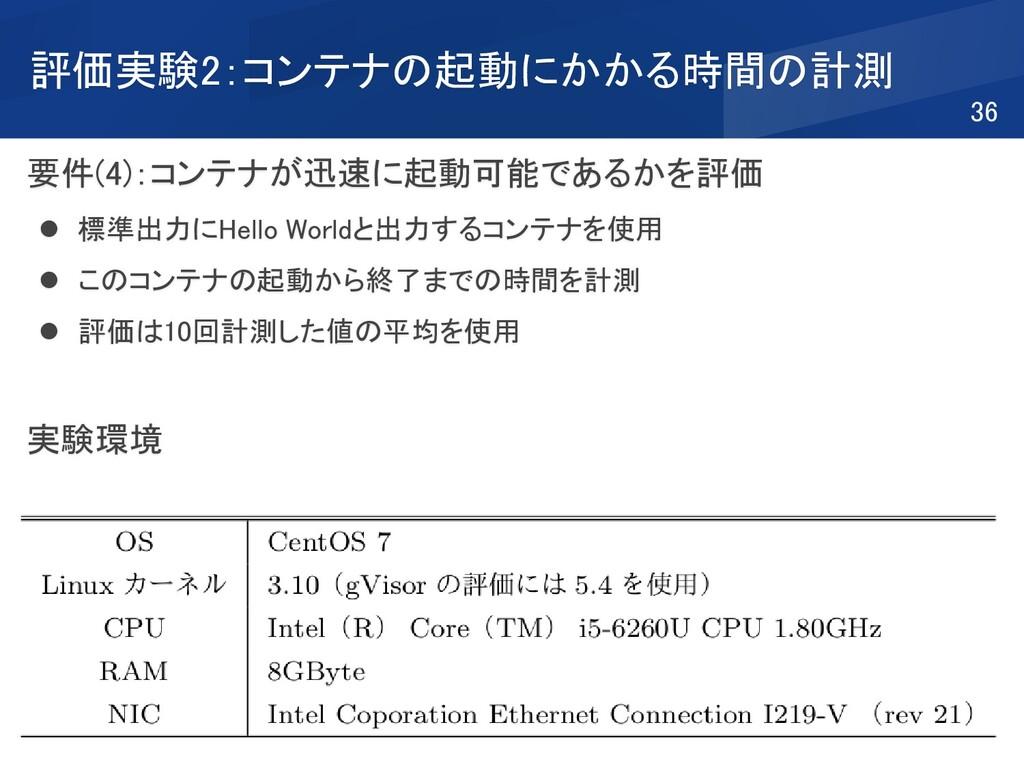 要件(4):コンテナが迅速に起動可能であるかを評価 ⚫ 標準出力にHello Worldと出力...