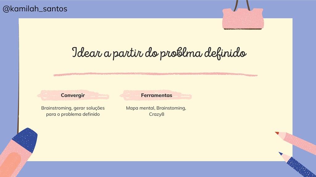 Idear a partir do problma definido Convergir Br...
