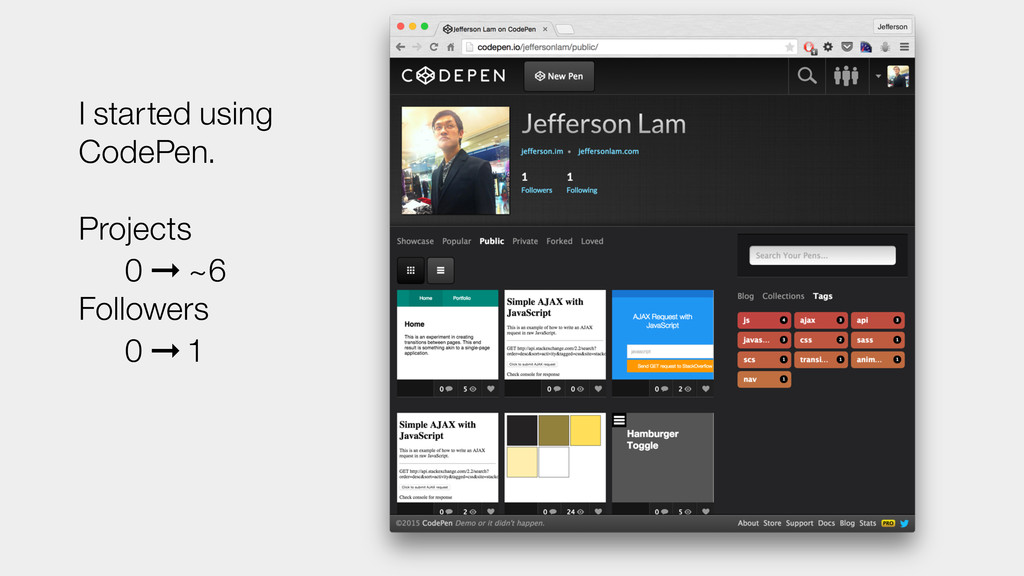 I started using CodePen. Projects 0 ➞ ~6 Follow...