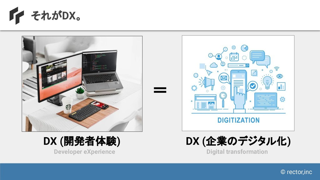 © rector,inc それがDX。 Developer eXperience DX (開発...