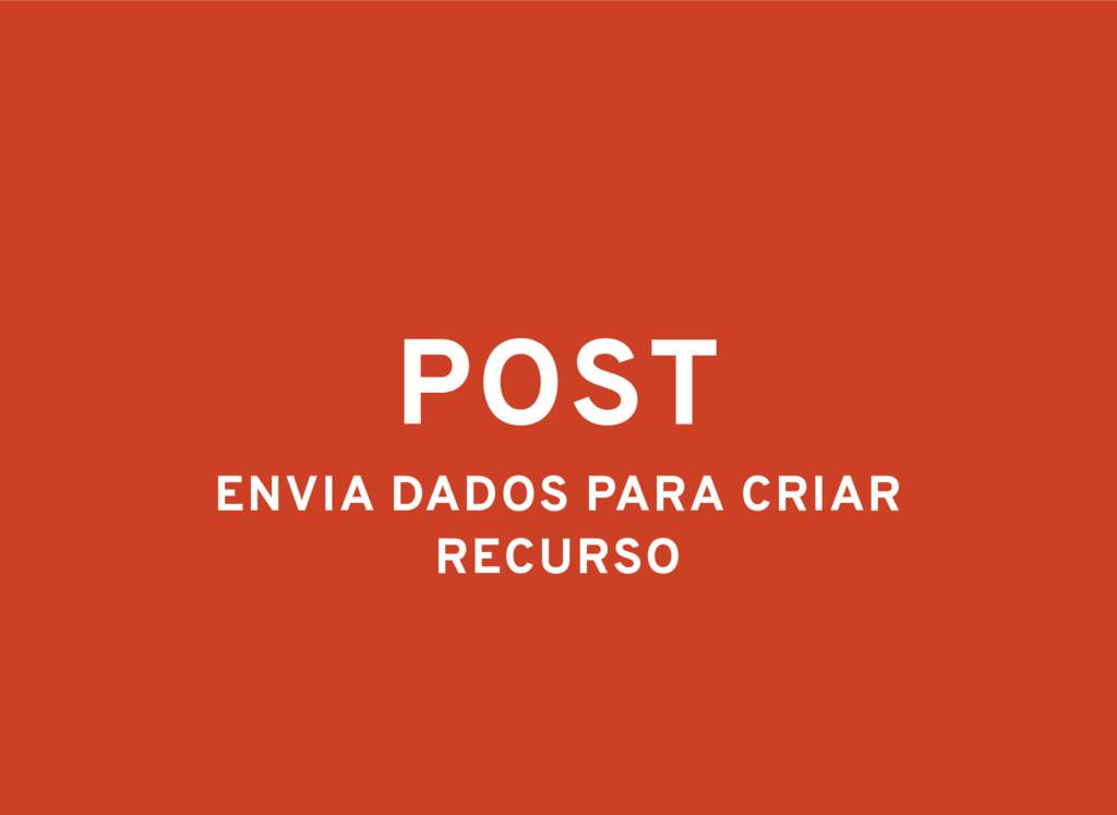 POST ENVIA DADOS PARA CRIAR RECURSO