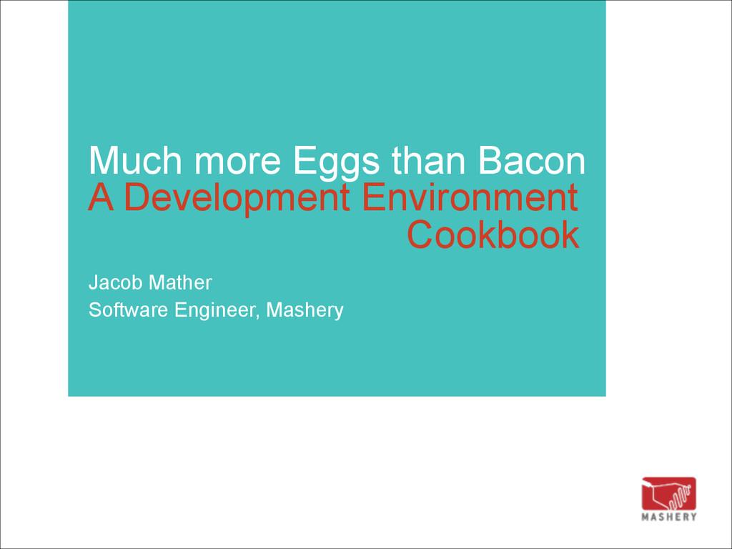 Much more Eggs than Bacon  A Development Envir...