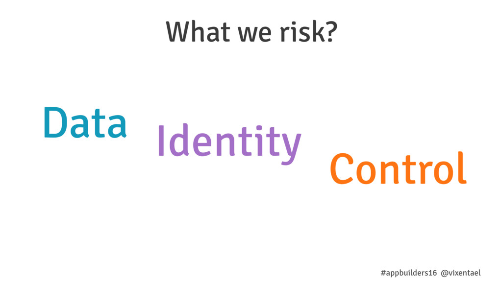 Identity Data Control What we risk? #appbuilder...