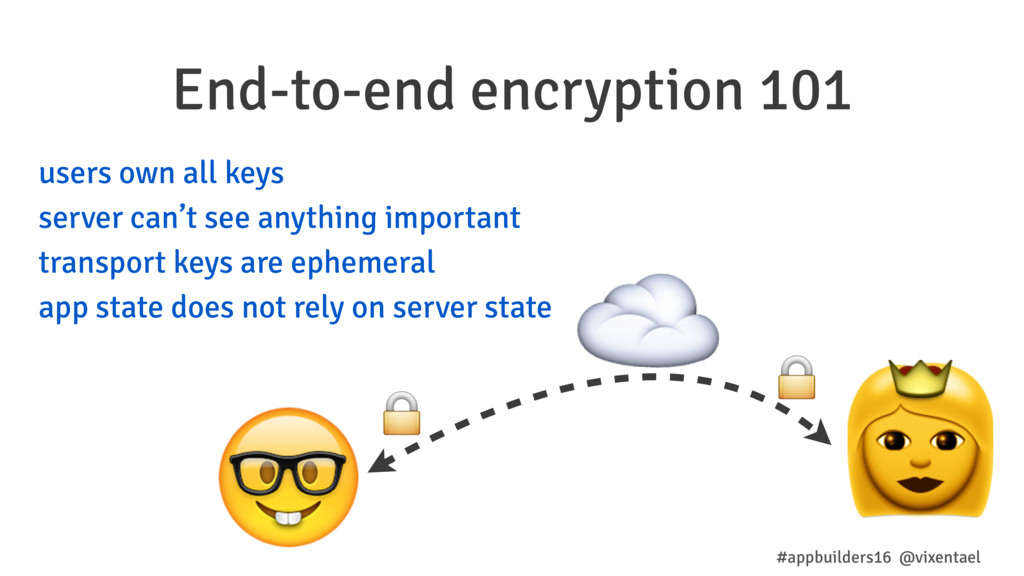 End-to-end encryption 101 #appbuilders16 @vixen...