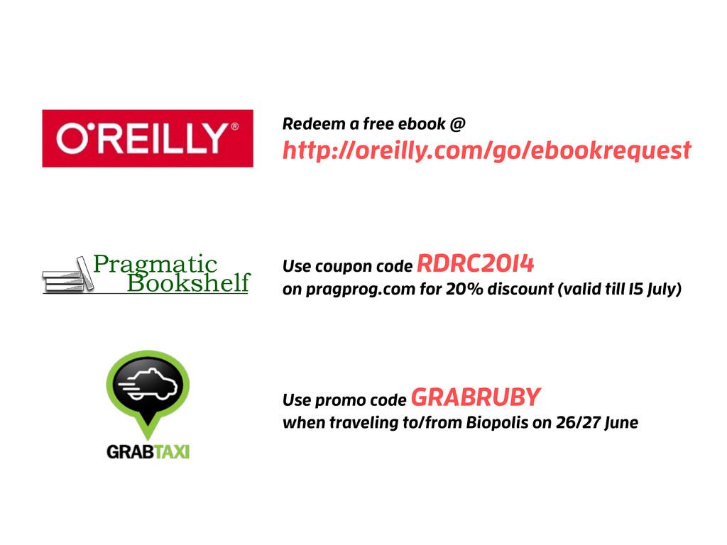 Redeem a free ebook @ http://oreilly.com/go/ebo...