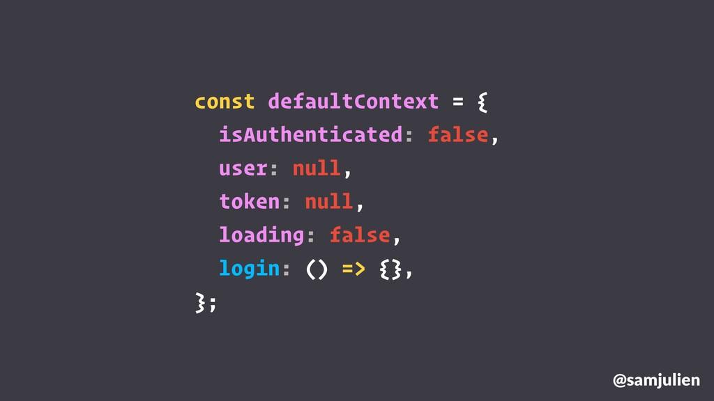 @samjulien const defaultContext = { isAuthentic...