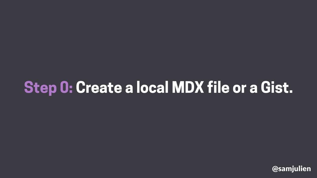 Step 0: Create a local MDX file or a Gist. @sam...