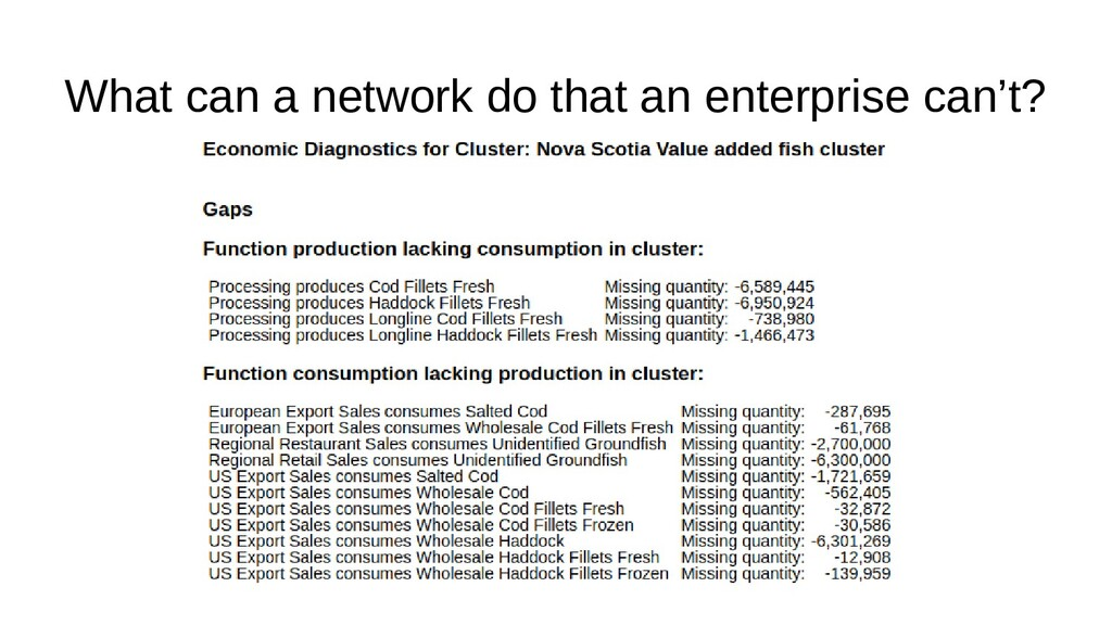 What can a network do that an enterprise can't?