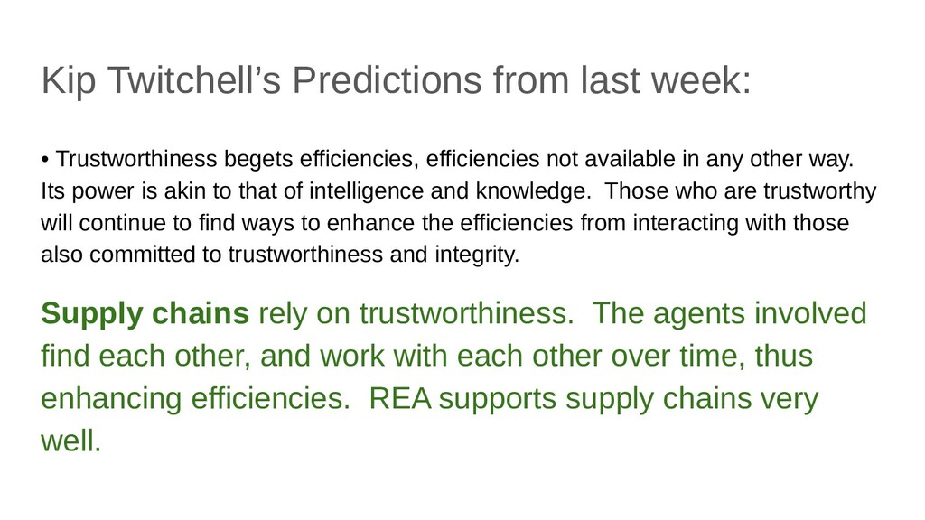 Kip Twitchell's Predictions from last week: • T...