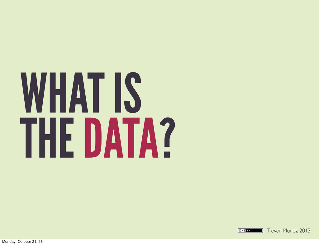 Trevor Munoz 2013 WHAT IS THE DATA? Monday, Oct...