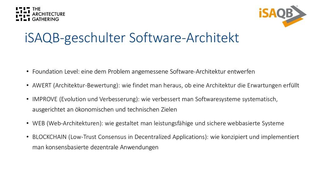iSAQB-geschulter Software-Architekt • Foundatio...