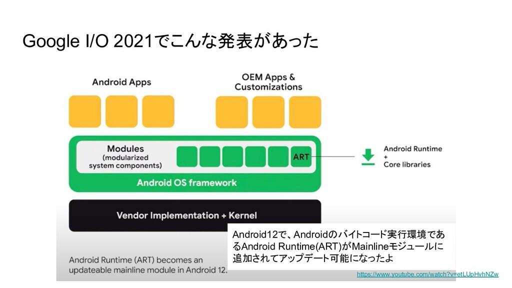 Google I/O 2021でこんな発表があった Android12で、Androidのバイ...