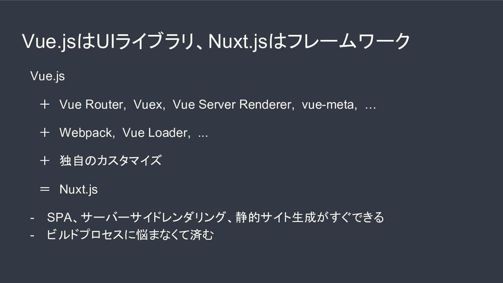 Vue.jsはUIライブラリ、Nuxt.jsはフレームワーク  Vue.js   + Vue ...