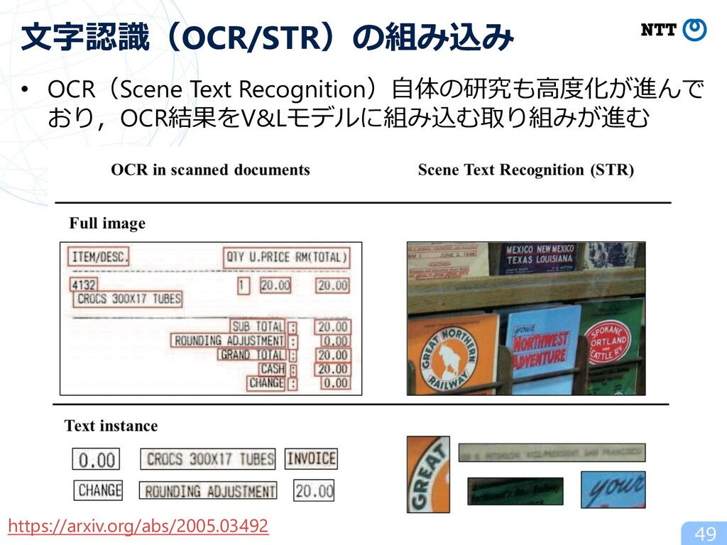 • OCR(Scene Text Recognition)⾃体の研究も⾼度化が進んで おり,O...