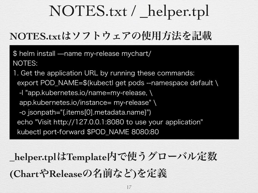 NOTES.txt / _helper.tpl 17 NOTES.txtιϑτΣΞͷ༻ํ...