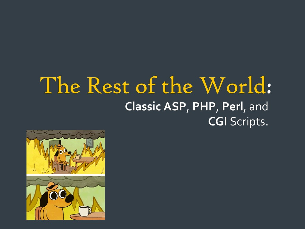 The Rest of the World: Classic ASP, PHP, Perl, ...