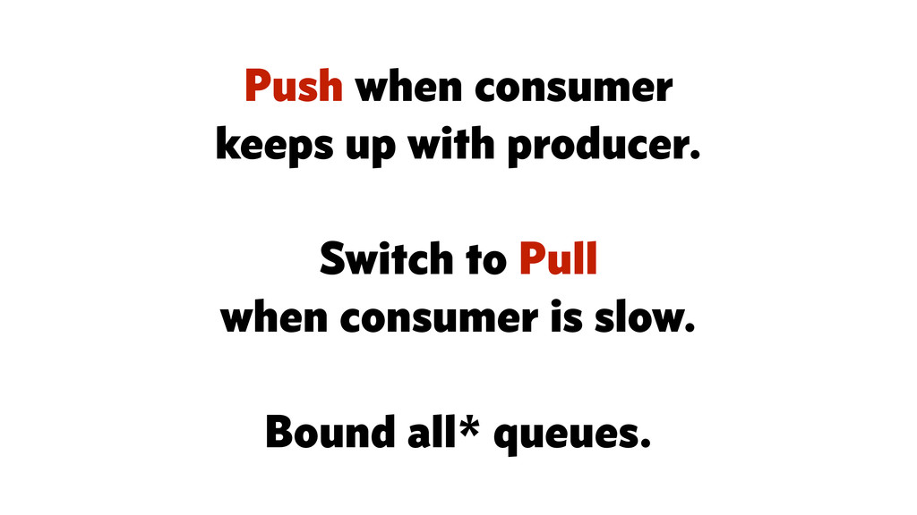 Push when consumer keeps up with producer. ! Sw...