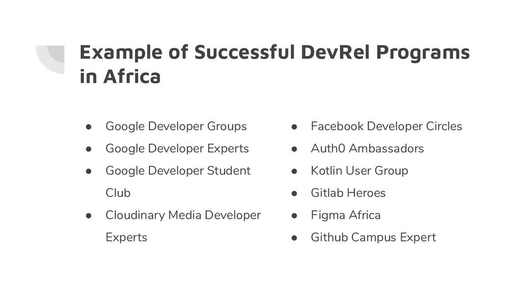Example of Successful DevRel Programs in Africa...