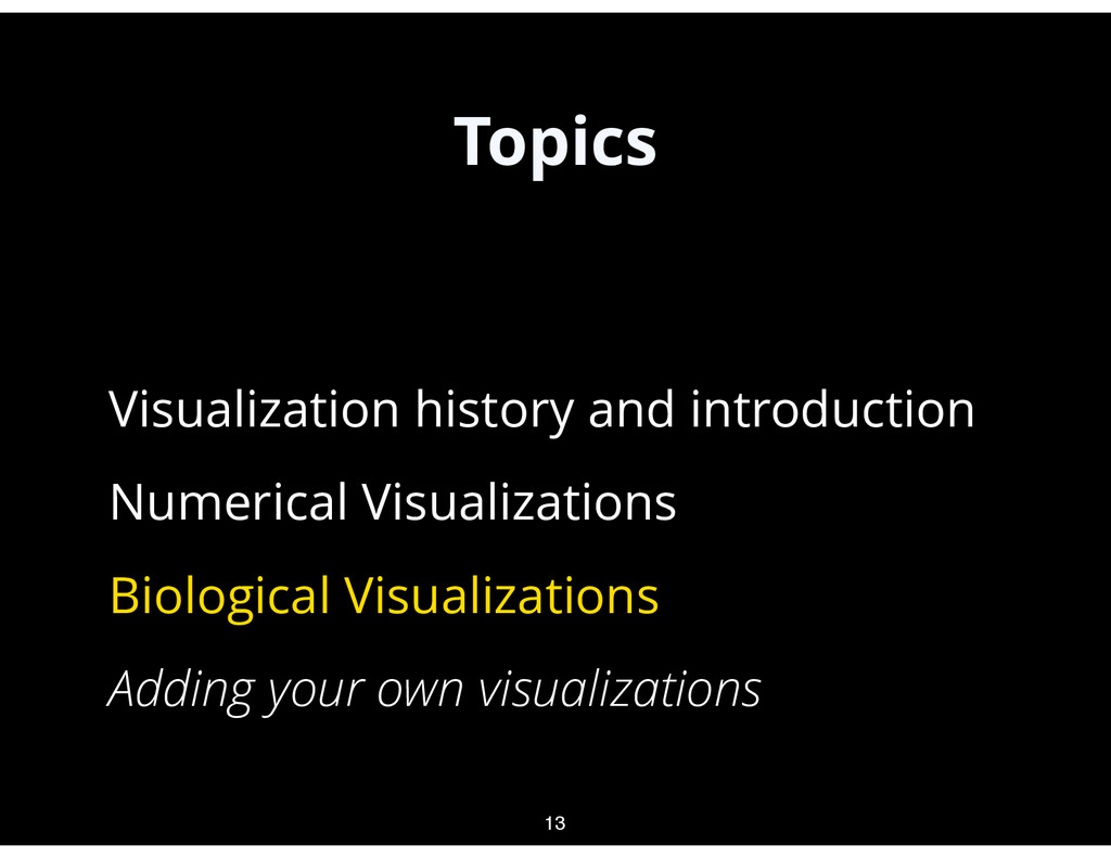Topics • Visualization history and introduction...
