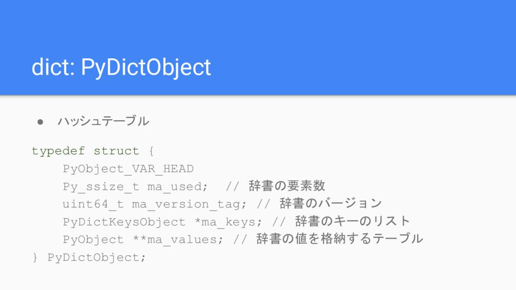 dict: PyDictObject ● ハッシュテーブル typedef struct { ...