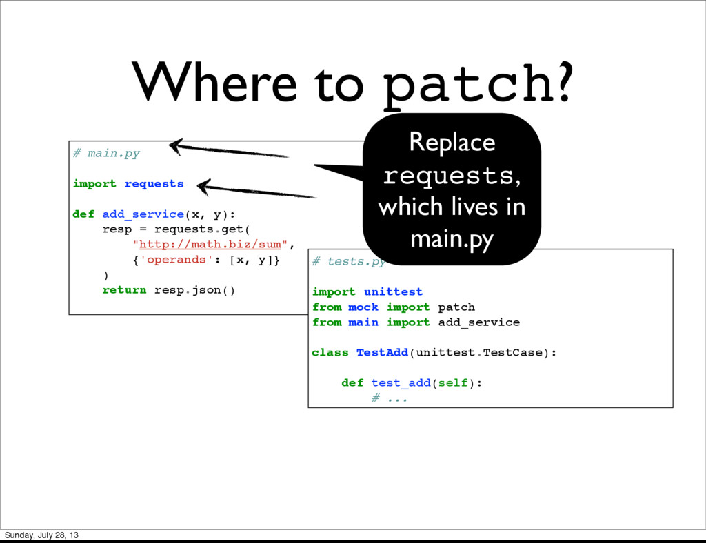Where to patch? # main.py import requests def a...