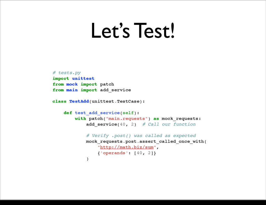 # tests.py import unittest from mock import pat...