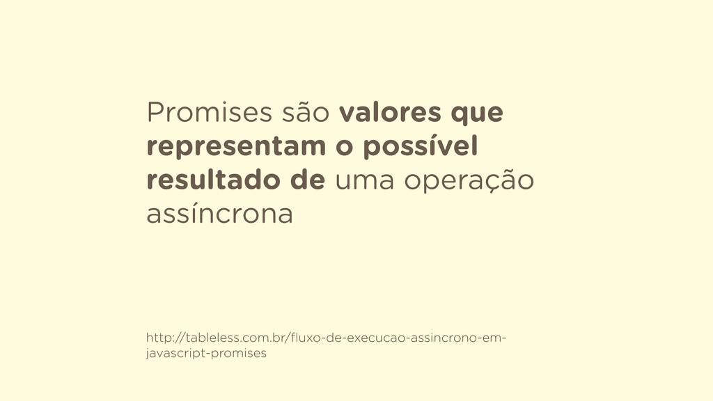 Promises são valores que representam o possível...